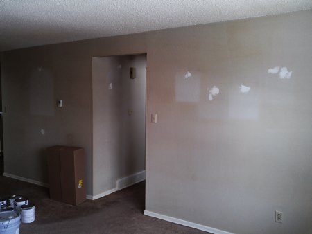 Example smoke stained walls before being painted